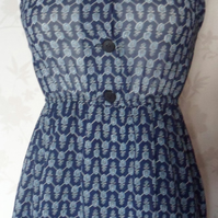 'Shield' size small navy, grey and white patterned dress uk 6-8