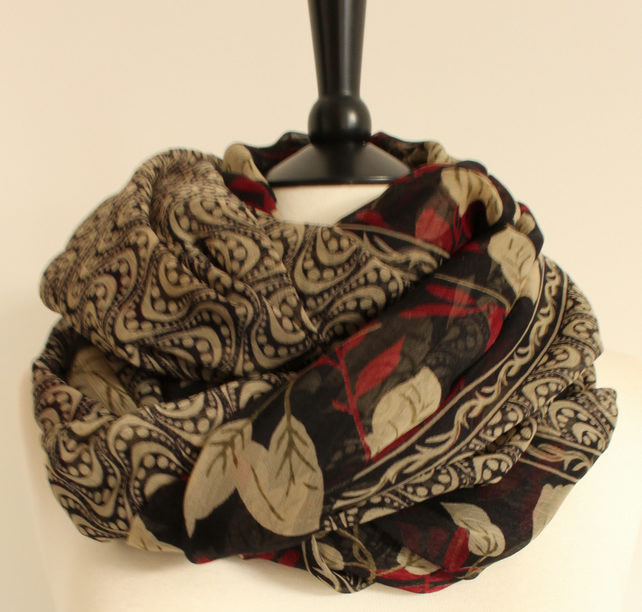 'Flora' sheer black, khaki cream & deep red chiffon long scarf