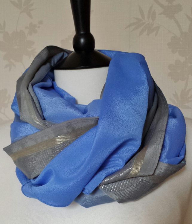 'Skies' rich sky blue, grey & gold trim matt satin scarf