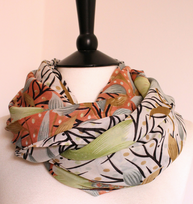 'Gerbera' pink, mint green and black floral patterned scarf