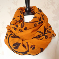'Ivy' orange-brown russet & black floral silver patterned sheer chiffon scarf