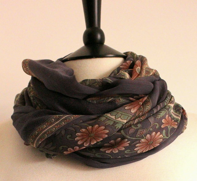 'Peonie' floral sheer purple, pink & green chiffon long scarf