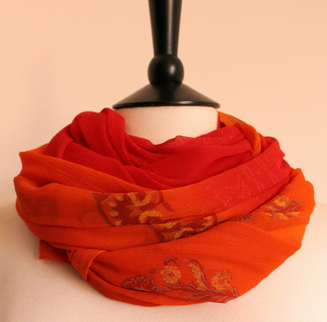 'Flame' red & orange blend floral pattern long chiffon scarf
