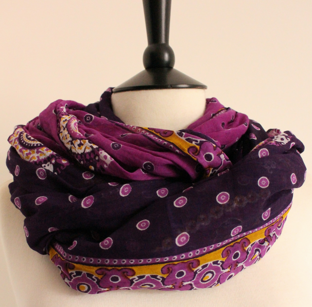 'Violets' batik purple, yellow & white patterned long scarf