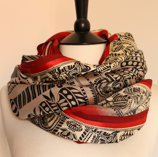 'Grecia' rich red,beige and black patterned motif satin scarf