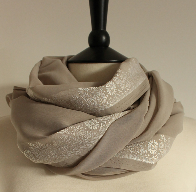 'Silver Leaf' silver & grey floral pattern embroidered scarf