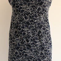 'Eve' midnight blue & silver floral lace mini dress size small uk 6-8