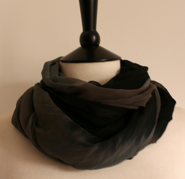 'Nightfall' sheer tie-dye grey & black dip-dye chiffon long scarf