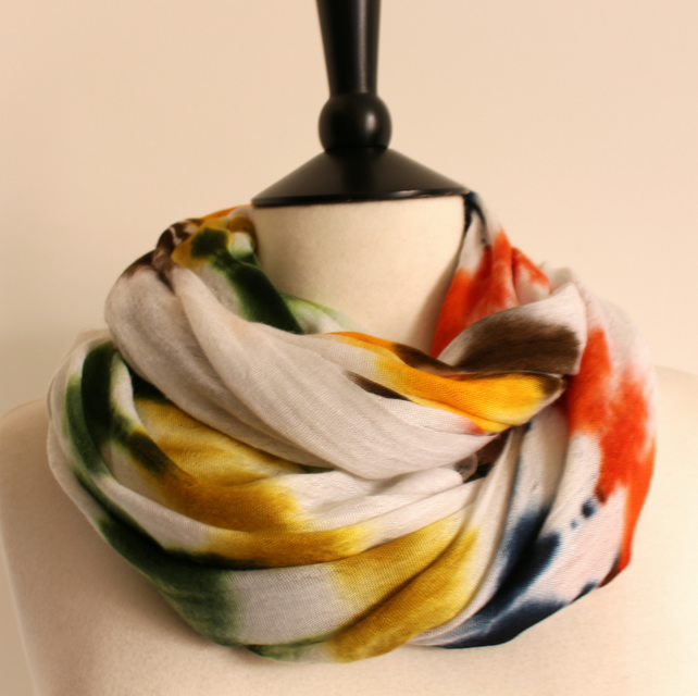 'Nirvana' tie-dye white, green, yellow & blue striped blend scarf