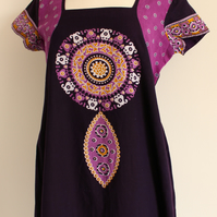 'Dreamcatcher' purple, ochre yellow & white dress size small uk 8