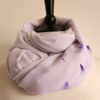 Violet petals - white & purple delicately sheer long hand-painted scarf
