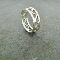Sterling Silver Bordered Ripple Ring