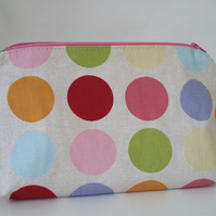 Handmade Spotted Cotton Makeup Bag
