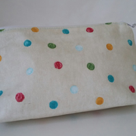Handmade Spotty Cotton Makeup Bag