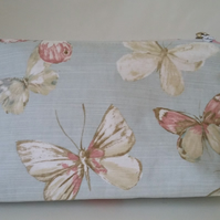 Handmade cotton butterfly print makeup bag