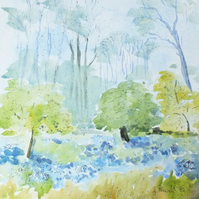 Pen and wash Bluebells print.