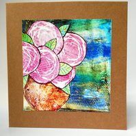 Roses in bowl blank card