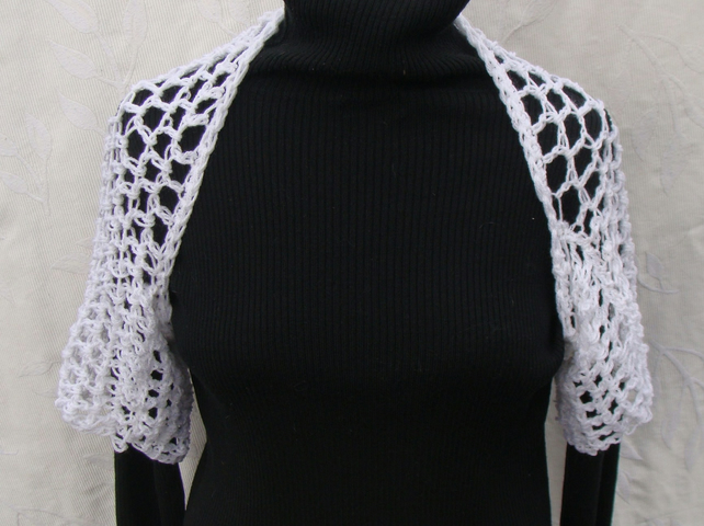 White Summery  Short Sleeved  Shoulder Shrug or Scarf
