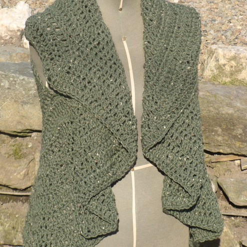 Crocheted Woman's Green Circular Vest or Cardigan SML