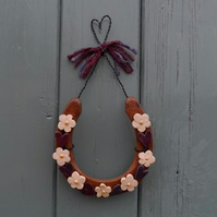 Real Horseshoe with Pottery Hearts and Flowers..lovely Rustic Wedding Gift!