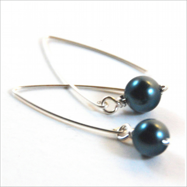Tahitian Blue Crystal Pearl Sterling Silver Earrings Silver Pearl Drop Earrings