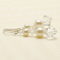 Abigail Cream White Crystal and Pearl Long Sterling Silver  Earrings Bridesmaid