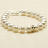 Crystal Pearl Cream White  Rondelle Bracelet Sterling Silver Toggle Clasp Bride