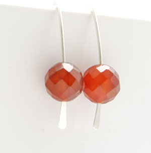 Sterling Silver Red Agate Earrings Silver Drop Sticks Simple Modern Minimalist