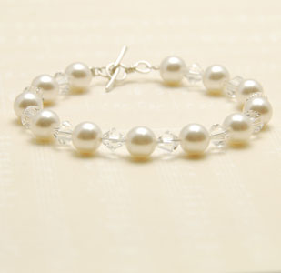 Abigail Crystal Cream White Pearl and Silver Bracelet