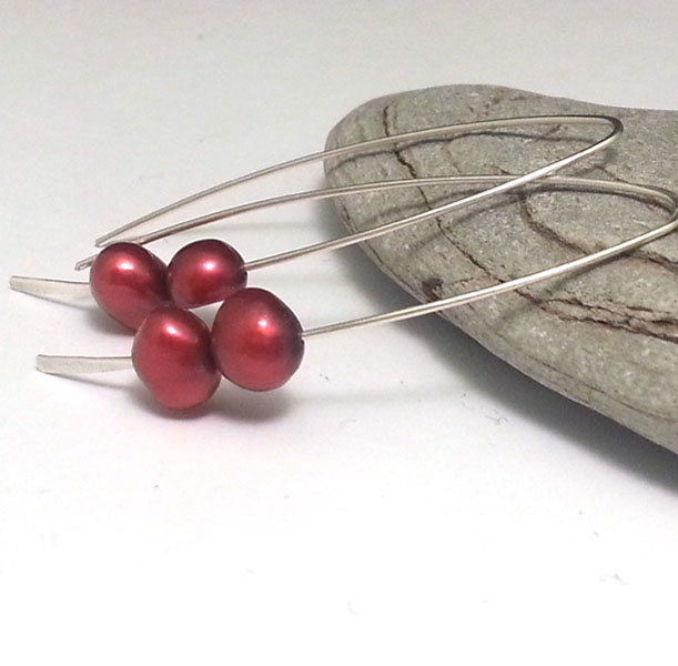 Twin Red Pearl Sterling Silver Earrings Long Silver Stick Drops Simple Modern