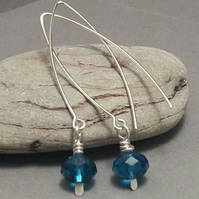 Peacock Blue Crystal Drop Sterling Silver Dangle Earrings Long Deep Blue