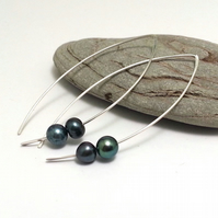 Sterling Silver Twin Black Freshwater Pearl Earrings Long Simple Drop Modern