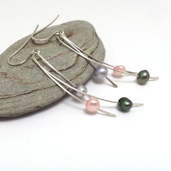 Sterling Silver Mixed Colours Freshwater Pearl Drops Green Blue Pink