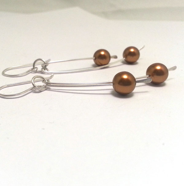 Copper Gold Pearl Sterling Silver Earrings Long Pearl Drop Earrings Simple