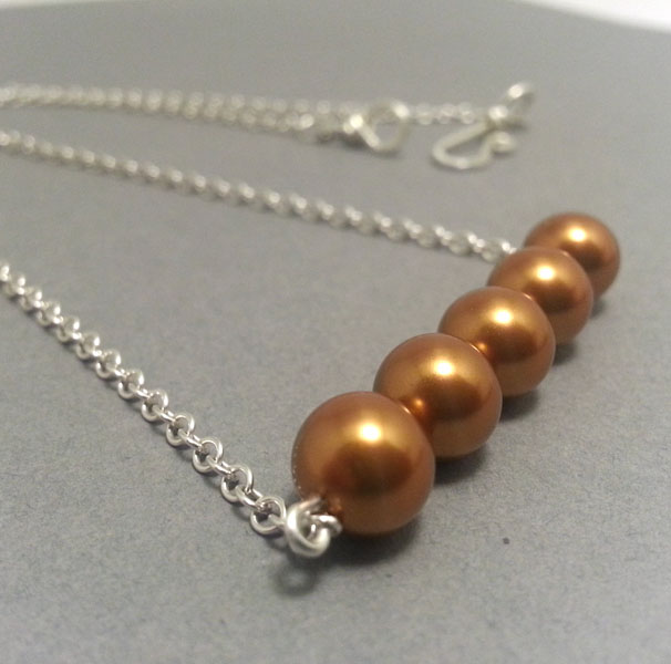 Copper Gold Pearls in a Row Necklace Sterling Silver Necklace Simple Statement