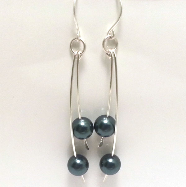 Tahitian Blue Pearl Sterling Silver Earrings Petrol Blue Pearl Drop Earrings