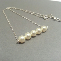 Cream or White Pearls in a Row Sterling Silver Necklace Brides Necklace Prom