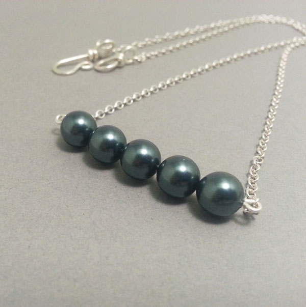 Tahitian Blue Pearls in a Row Sterling Silver Necklace Petrol Blue Necklace
