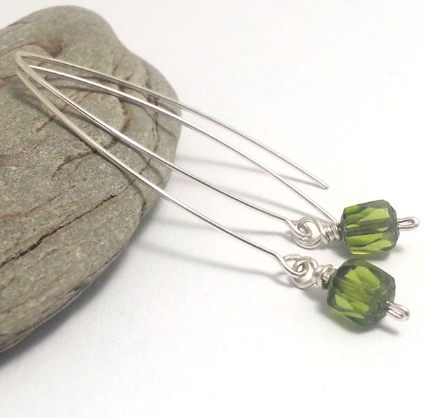 Long Fresh Green Faceted Glass Sterling Silver Earrings Olive Drop Earrings