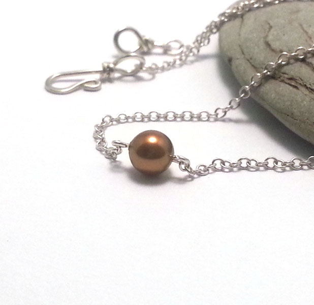 Single Copper Gold Pearl on Sterling Silver Chain Hook Clasp Simple Modern