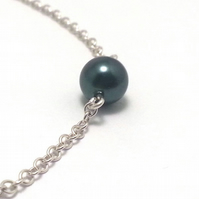 Single Tahitian Blue Pearl on Sterling Silver Chain Hook Clasp Simple Modern