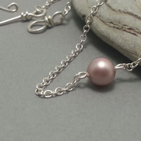 Single Rose Pink Pearl on Sterling Silver Chain Hook Clasp Simple Modern Classic