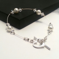 NIcola Crystal & Pearl Valentine Sweetheart Bracelet Prom Bridesmaid Wedding