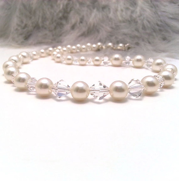 Abigail Pearl and Crystal Necklace. Cream or White Pearls