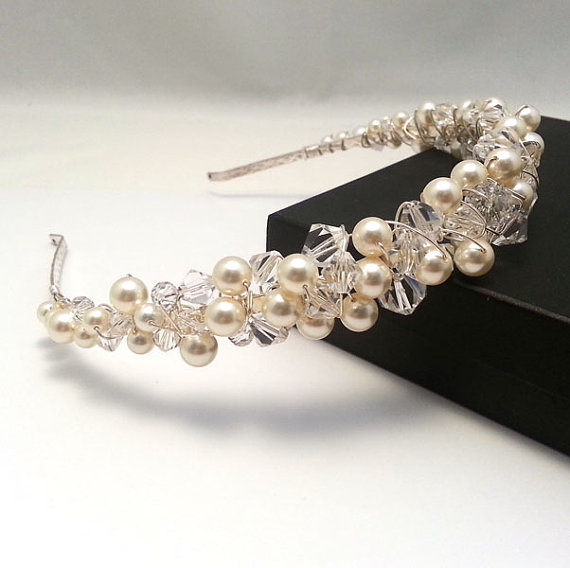Abigail Crystal And Pearl Tiara Headband