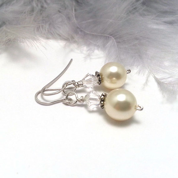 Veronica Cream Pearl and Crystal Drop Sterling Silver Earrings