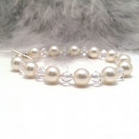 Abigail Crystal and Pearl Bracelet. Cream or White