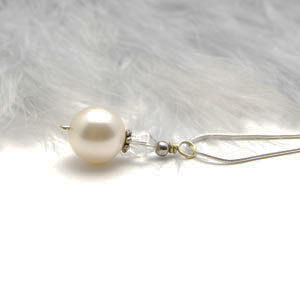 Veronica Cream Pearl and Crystal Pendant Drop Necklace