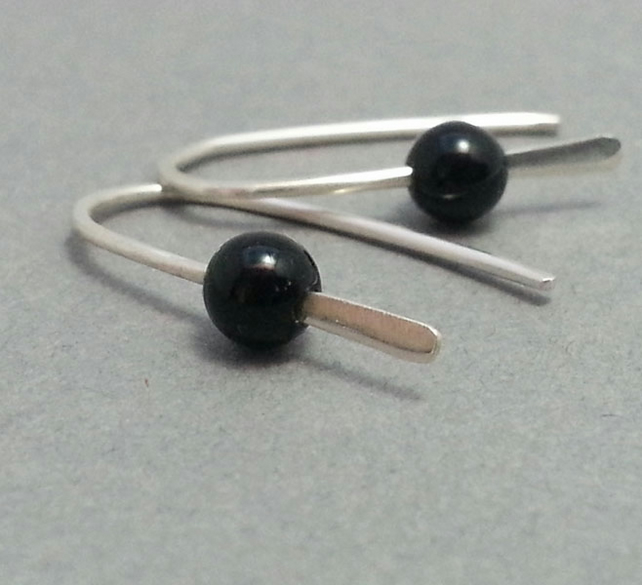 Tiny Onyx Earrings - Sterling Silver Open Hoops