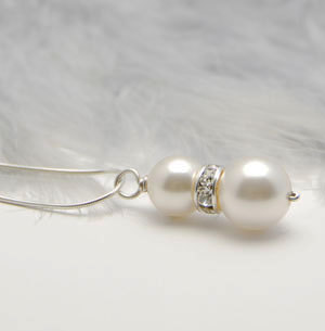 Swarovski Pearl Rondelle Pendant Sterling Silver Necklace White or Cream